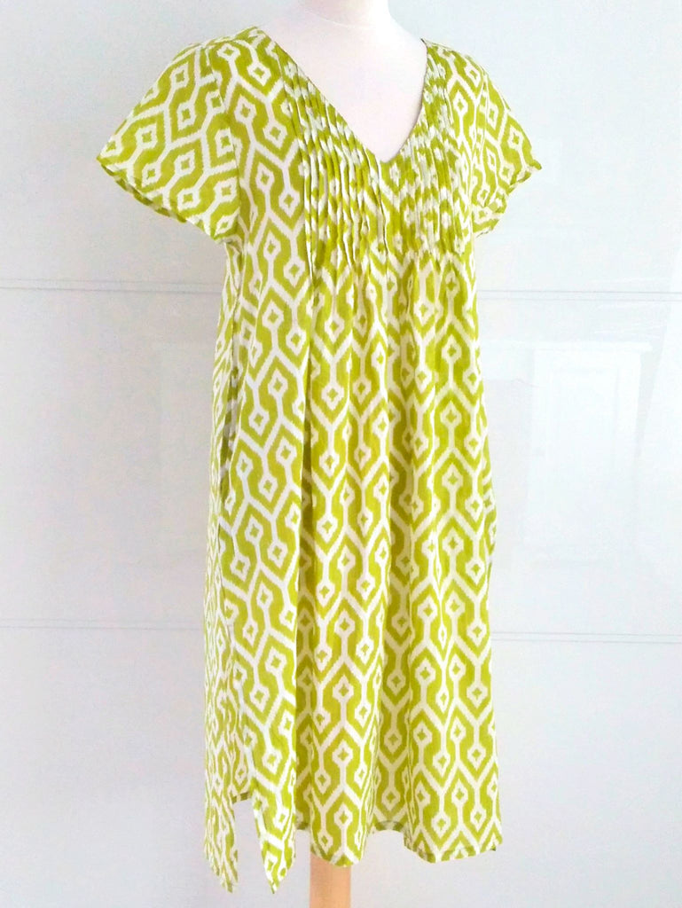 Chloe Summer Dress Lime Ikat Fine Cotton Dress Indian Cotton | An Indian Summer