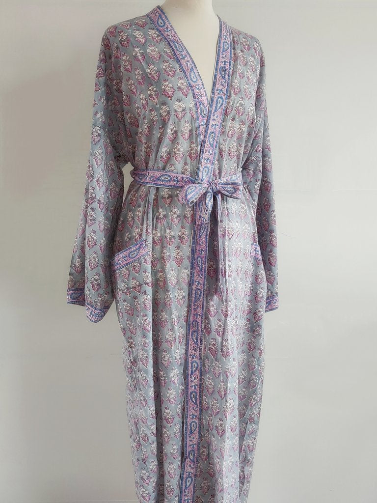 Long Kimono Robe - Floral Block Print - Jasmine - An Indian Summer