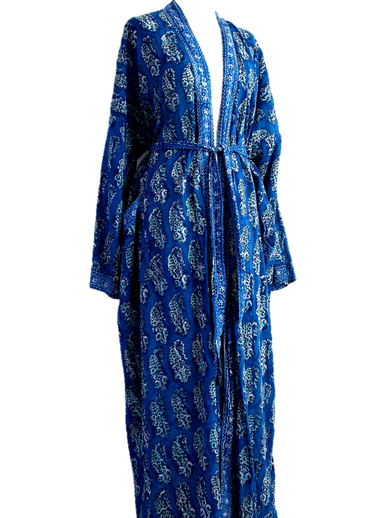 Long Kimono Robe - Paisley Block Print - Deep Blue - Hand Block Printed - Cotton - An Indian Summer