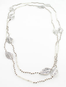Long Beaded Leaf Necklace - Silver & Black - An Indian Summer
