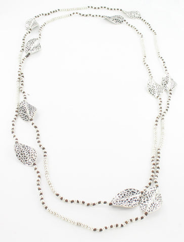 Long Beaded Leaf Necklace - Silver & Black