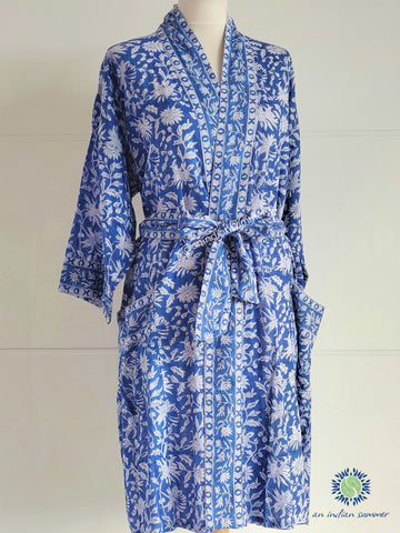 Kimono Robe - Floral Block Print - Maya - Blue - An Indian Summer