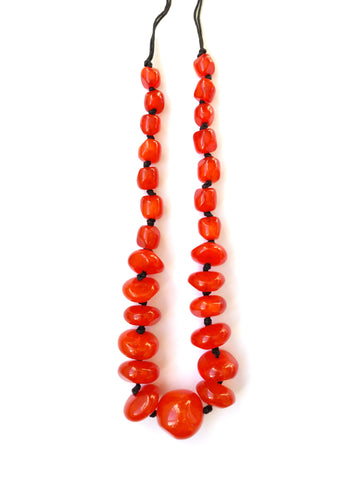 Mila Necklace - Carnelian Orange