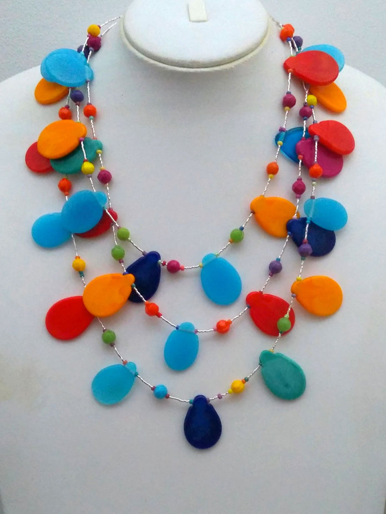 Petals Multicoloured Glass Beads Layered Statement Necklace | An Indian Summer