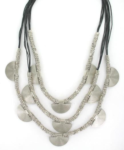 Black & Silver Layered Fan Necklace - An Indian Summer