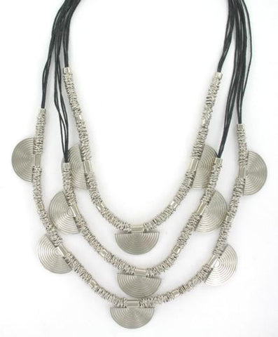 Black & Silver Layered Fan Necklace