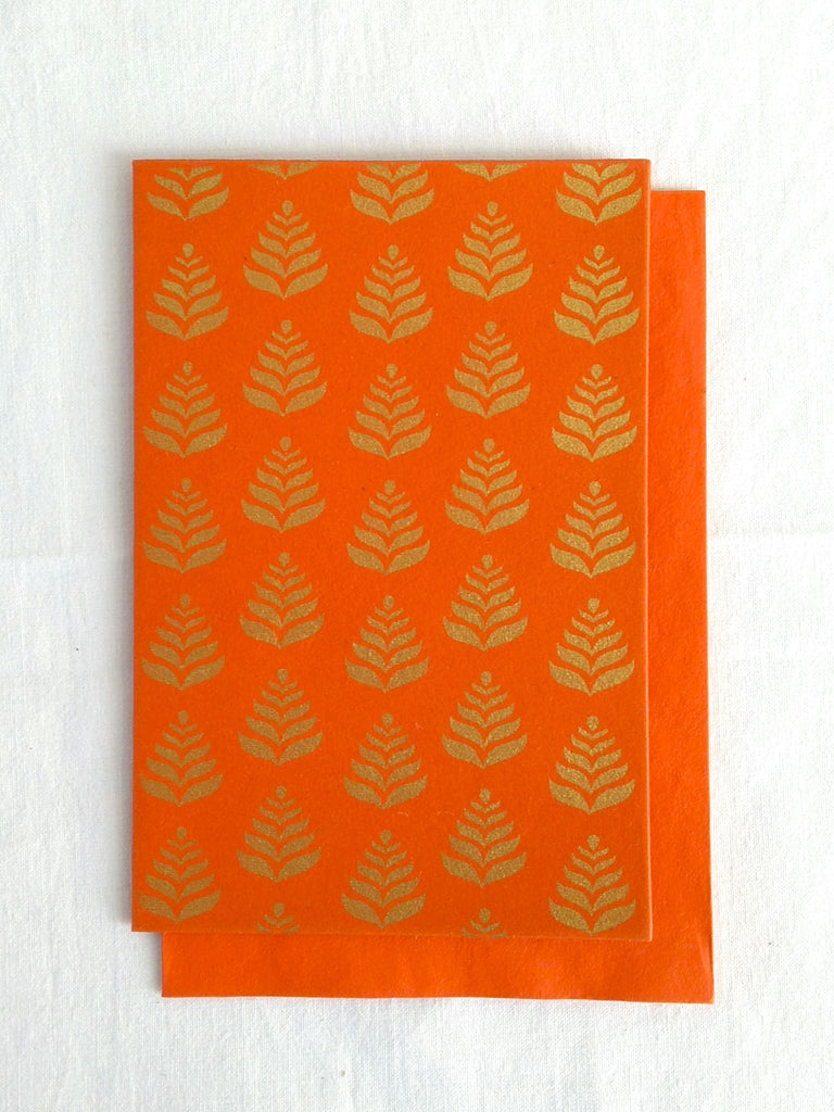 Hand Block Printed Gold Stamped Cards made with Handmade Paper | Fern Motif | Narangi Orange | An Indian Summer