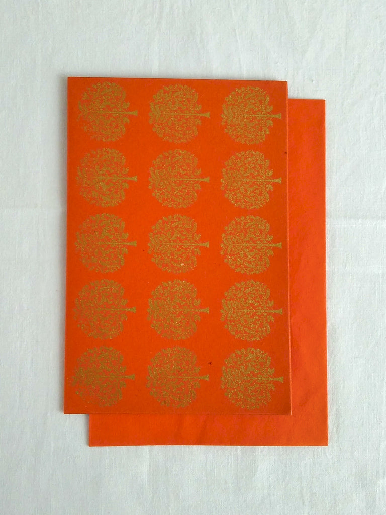 Hand Block Printed Gold Stamped Cards made with Handmade Paper | Tree Motif | Narangi Orange | An Indian Summer