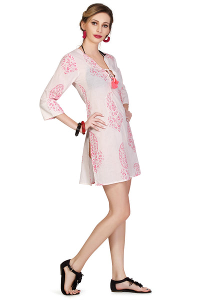 Paisley Embroidered Tunic - Neon Pink - An Indian Summer