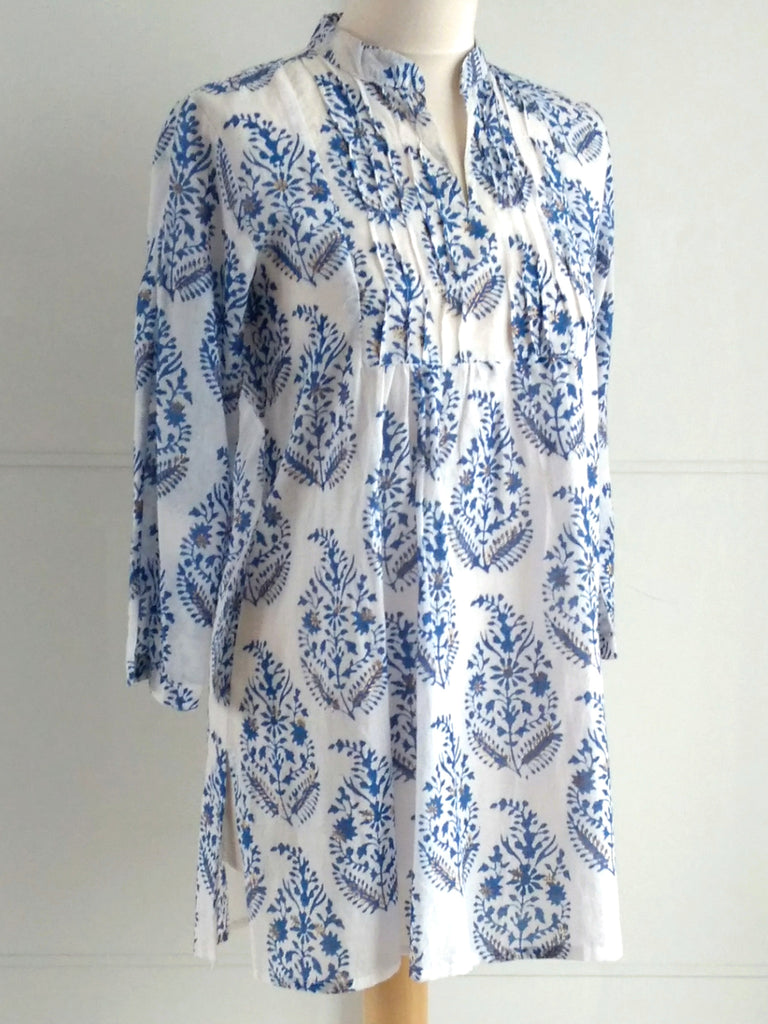 Paisley Top - Blue & Gold - Hand Block Printed Cotton - An Indian Summer