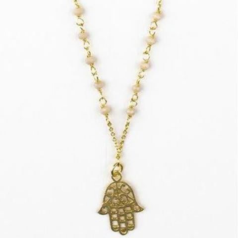 Peach Chalcedony Hamsa Necklace - An Indian Summer