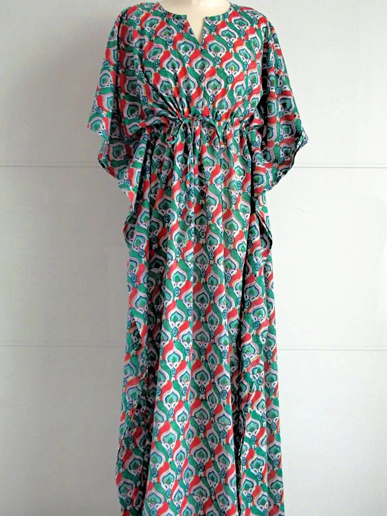 Peacock Long Kaftan | Hand Block Printed Peacock Pattern | Cotton | An Indian Summer