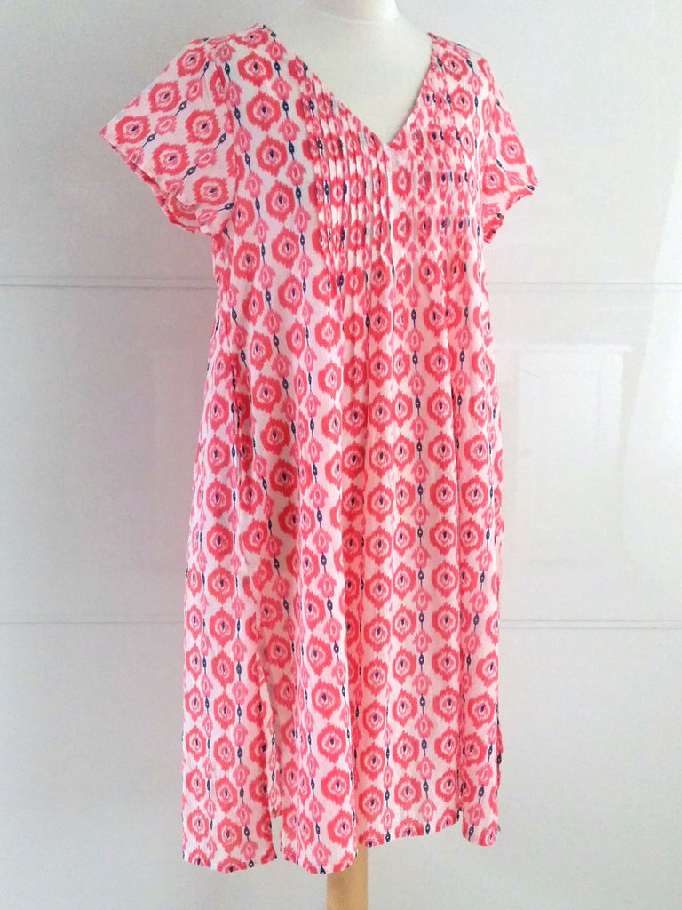 Chloe Summer Dress Pink Ikat Fine Cotton Dress Indian Cotton | An Indian Summer