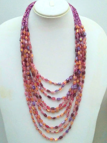 Pink & Purple Cascade Necklace