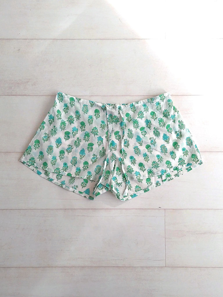 Pippa Shorts Jade | Hand Block Printed Mughal Floral Buti | Cotton | An Indian Summer