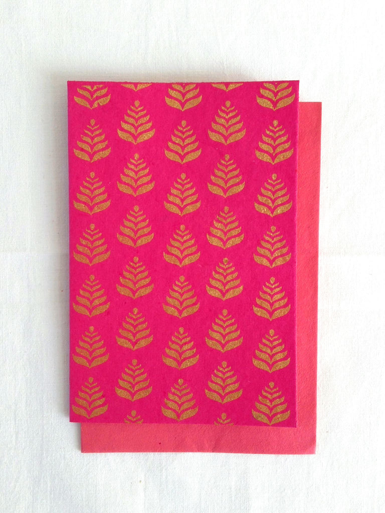 Hand Block Printed Gold Stamped Cards made with Handmade Paper | Fern Motif | Rani Pink | An Indian Summer