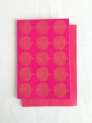 Rani Pink - Set of 5 Gold Tree Motif Hand Block Printed Cards