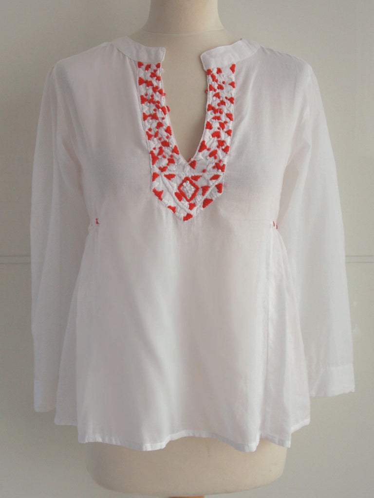 Red & White Embroidered Top - An Indian Summer