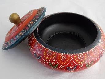 Painted Round Red Trinket Box - An Indian Summer