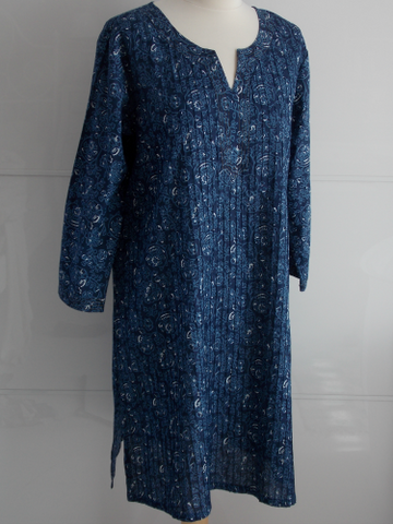 Indigo Dyed Block Print Tunic - Milly