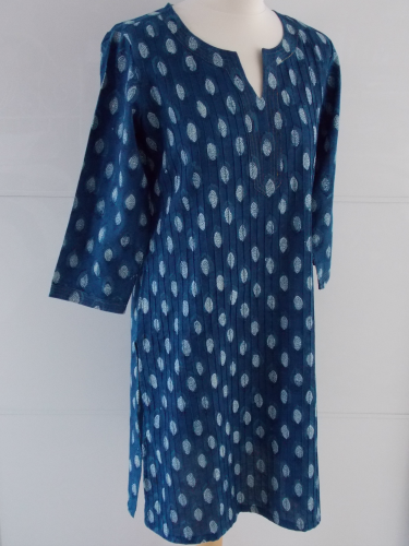 Indigo Dyed Block Print Tunic | Diana | Hand Block Printed | Cotton | An Indian Summer