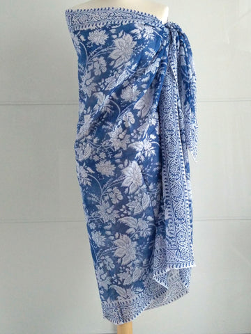 Rose Burst Sarong - Blue