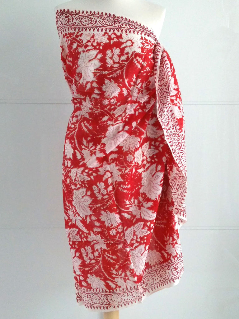 Rose Burst Sarong Red Hand Block Printed Cotton An Indian Summer