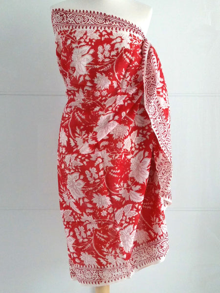 Rose Burst Sarong - Red - An Indian Summer