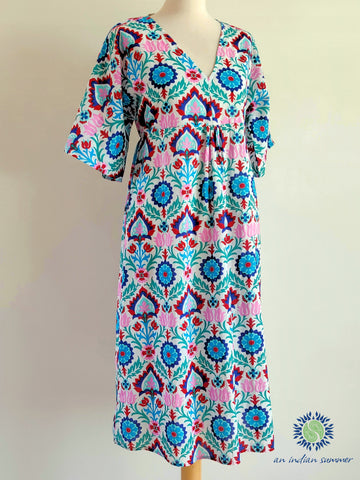An Indian Summer Samara Dress Turquoise & Pink Comfortable Easy-fit House Dress Ideal for Lounging or on the beach | Elasticated back | One Size | Cotton Voile | Handcrafted