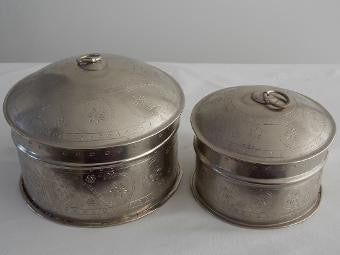 Set of 2 Etched Round Trinket Boxes