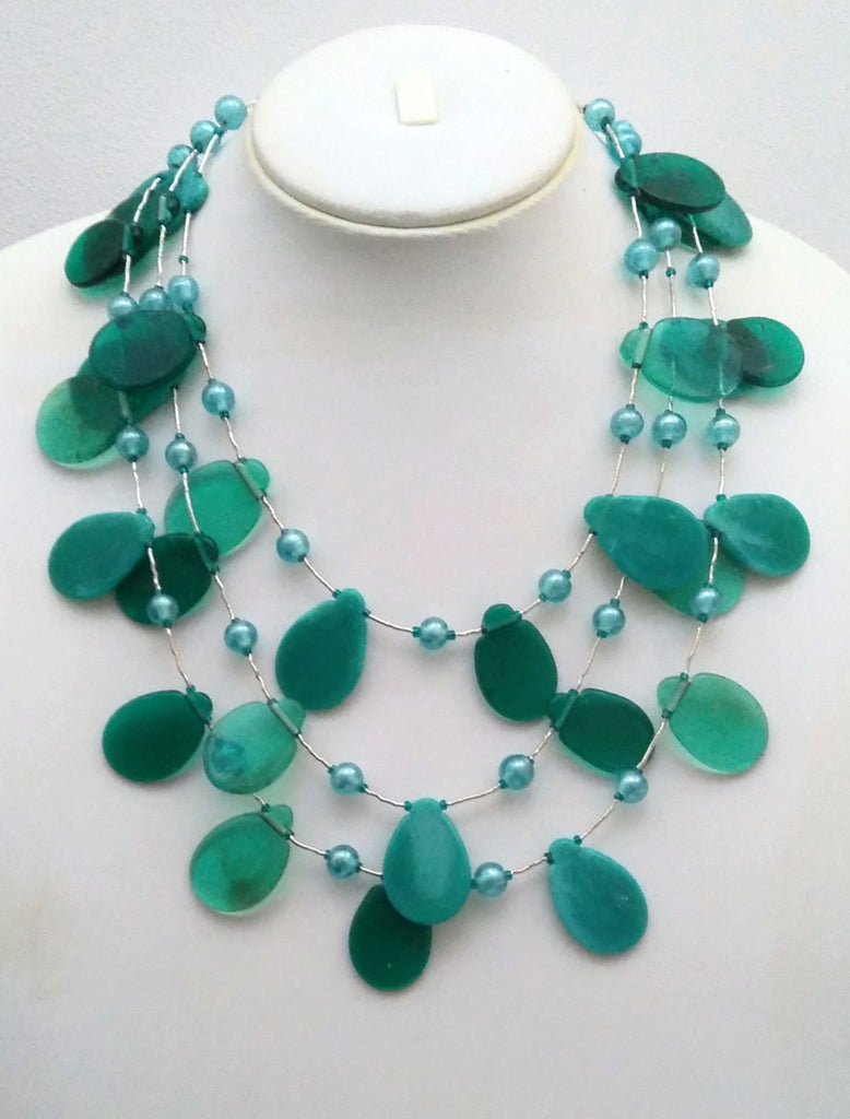 Shades of Blue Petals Necklace - An Indian Summer