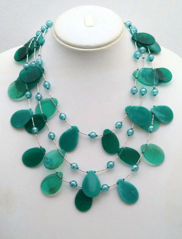 Shades of Blue Petals Necklace