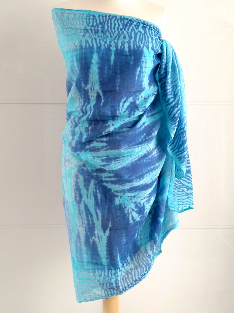 Shibori Sarong - Blue & Turquoise - An Indian Summer