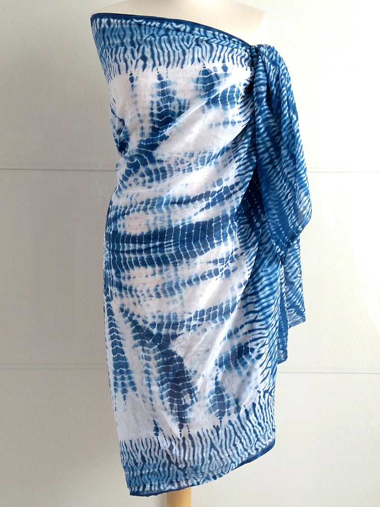 Shibori Sarong Pareo | Blue White | Hand Tie Dyed | Cotton Voile | An Indian Summer