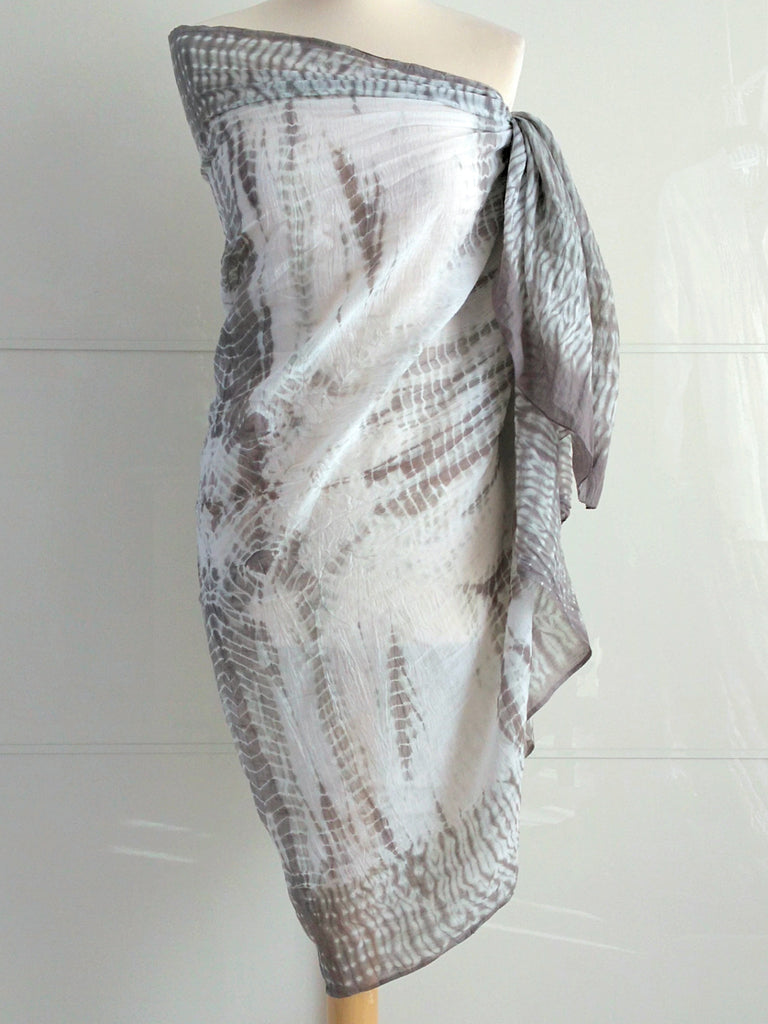 Shibori Sarong Grey and White Hand Tie Dyed Cotton An Indian Summer
