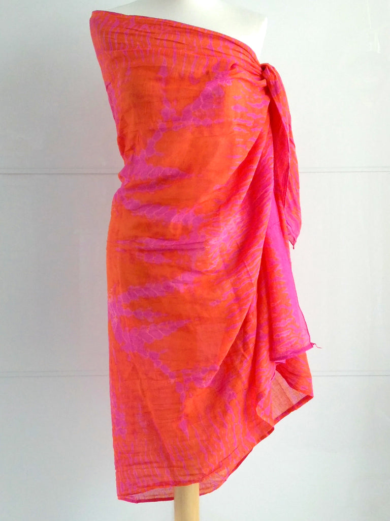 Shibori Sarong Pink Orange Hand Tie Dyed Cotton An Indian Summer