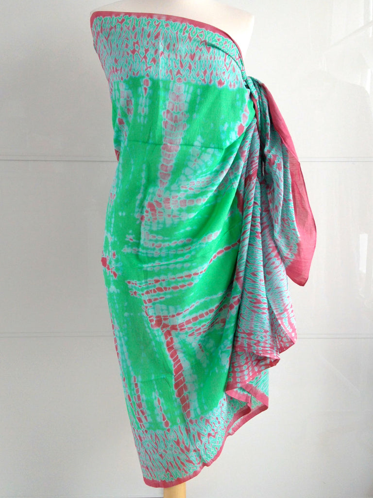 Shibori Sarong Sea Green and Coral Hand Tie Dyed Cotton An Indian Summer