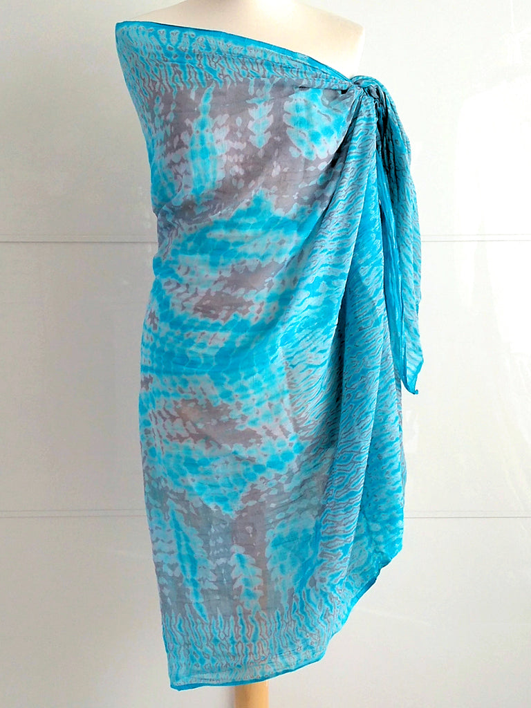 Shibori Sarong Turquoise and Grey Hand Tie Dyed Cotton An Indian Summer