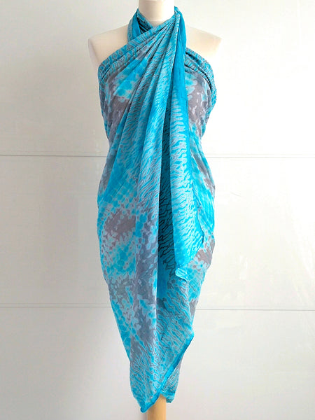 Shibori Sarong - Turquoise & Grey - An Indian Summer