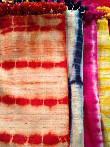 Handcrafted Shibori Stoles - Silk & Merino Wool - An Indian Summer