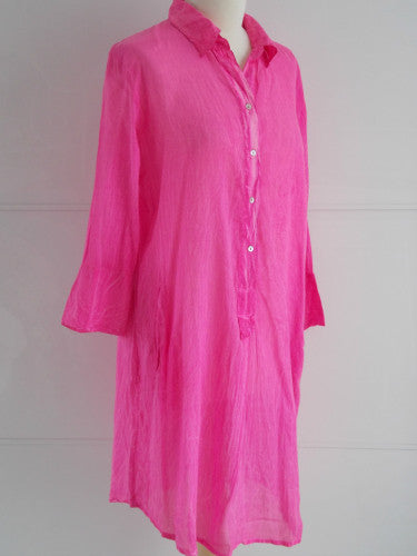 Petunia Pink Shirt Dress | Cotton | An Indian Summer