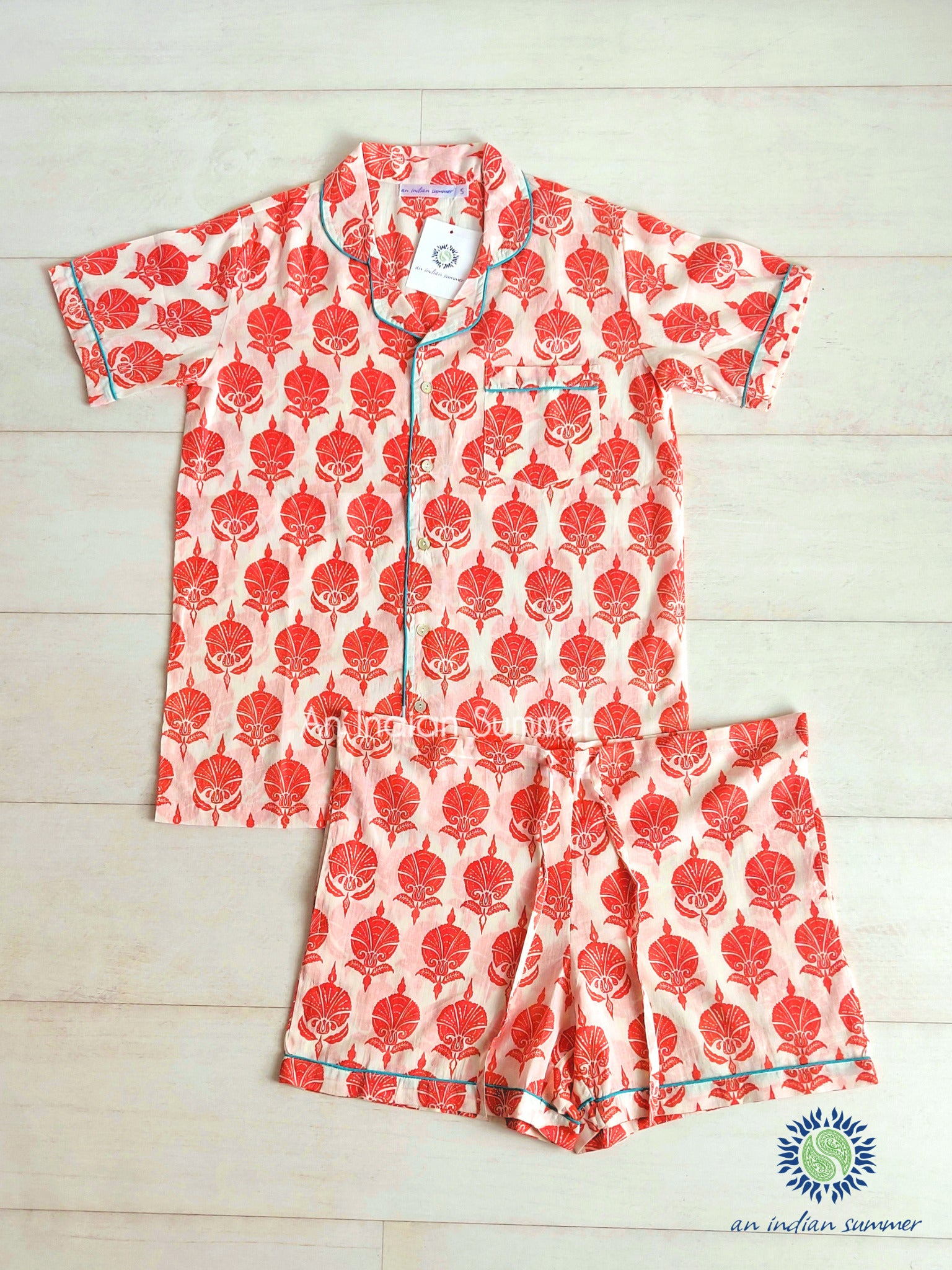Short Pyjama Set Ottoman Flower | Coral with Turquoise Contrast Details | Hand Block Printed Cotton Voile | An Indian Summer | Authentic Timeless Sustainable Ethical Artisan Conscious Responsible Clothing