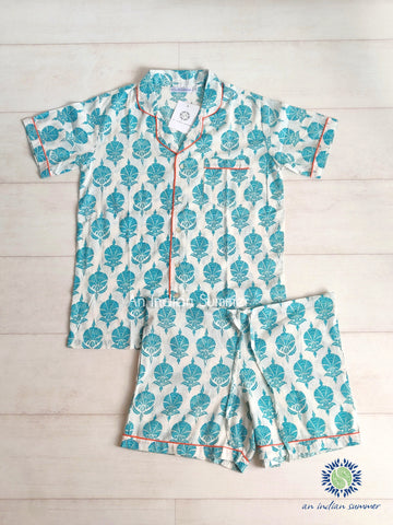 Short Pyjama Set Ottoman Flower | Turquoise with Coral Contrast Details | Hand Block Printed Cotton Voile | An Indian Summer | Authentic Timeless Sustainable Ethical Artisan Conscious Responsible Clothing