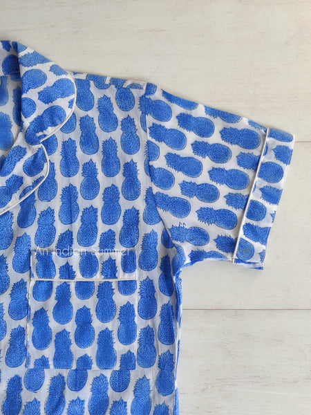 Short Pyjama Set | Pineapple Print | Blue | Hand Block Printed | Cotton Voile | An Indian Summer