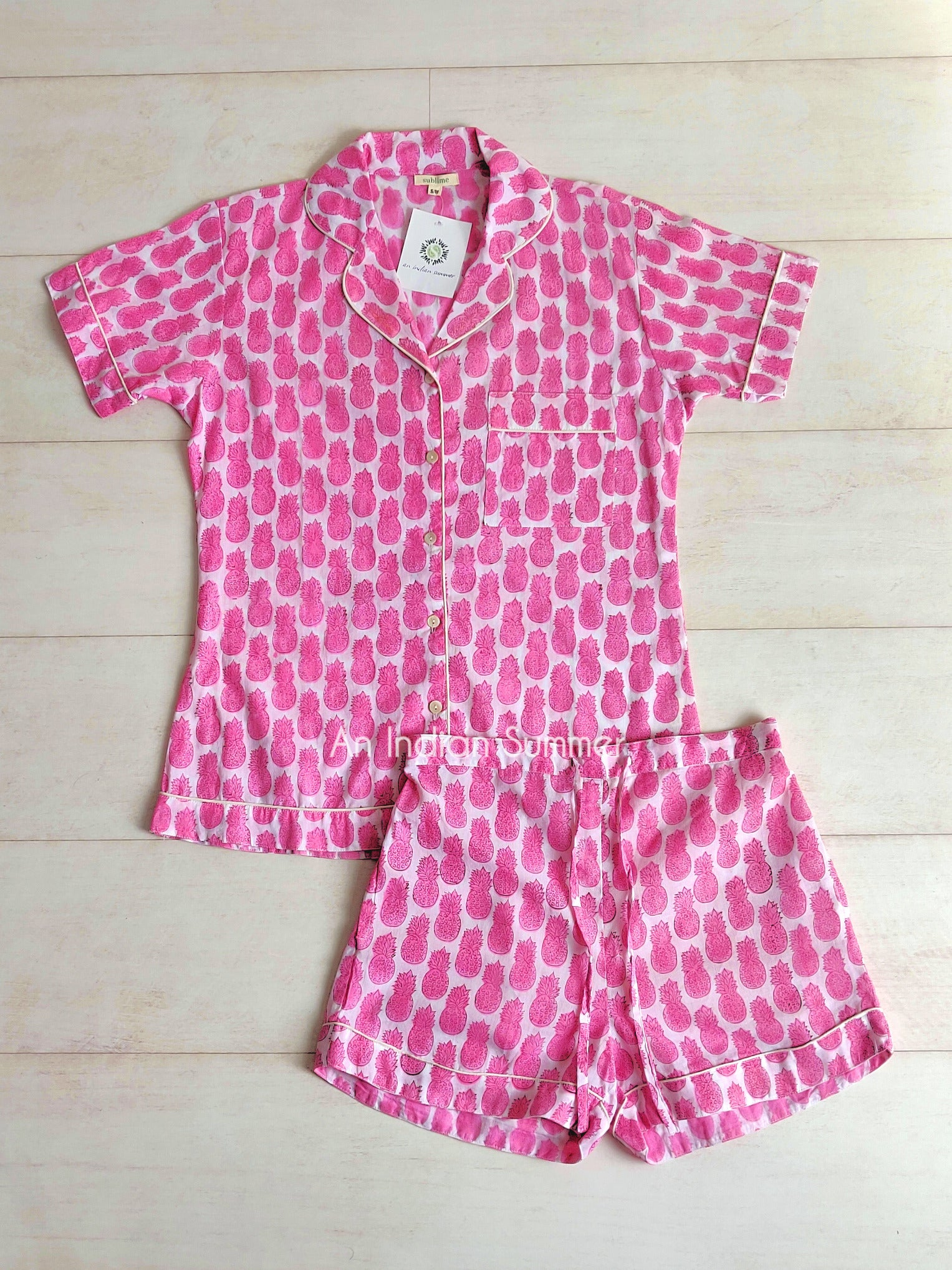 Short Pyjama Set | Pineapple Print | Pink | Hand Block Printed | Cotton Voile | An Indian Summer