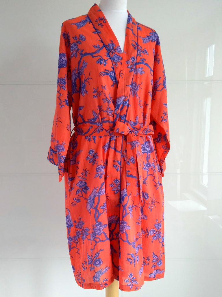 Jacobean Print Orange Blue | Kimono Robe | Hand Block Printed | Cotton Voile | An Indian Summer