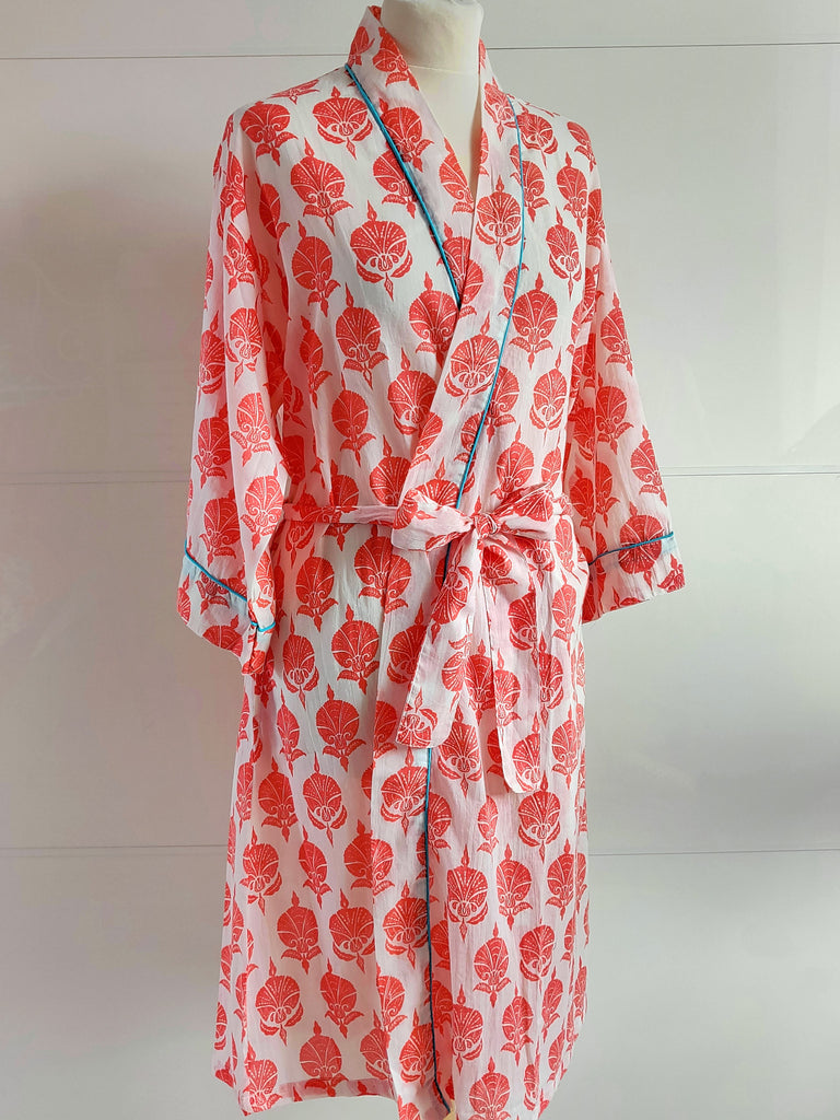Ottoman Flower Print Coral | Kimono Robe | Hand Block Printed | Cotton Voile | An Indian Summer