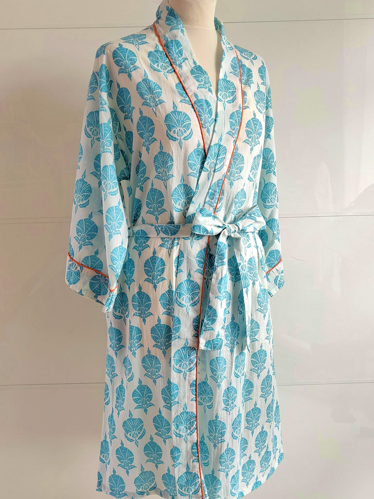 Ottoman Flower Print Turquoise | Kimono Robe | Hand Block Printed | Cotton Voile | An Indian Summer