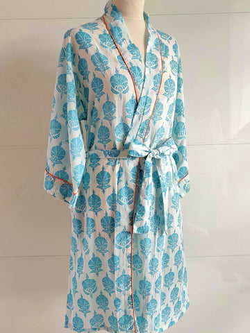Kimono Robe - Ottoman Flower - Turquoise - An Indian Summer