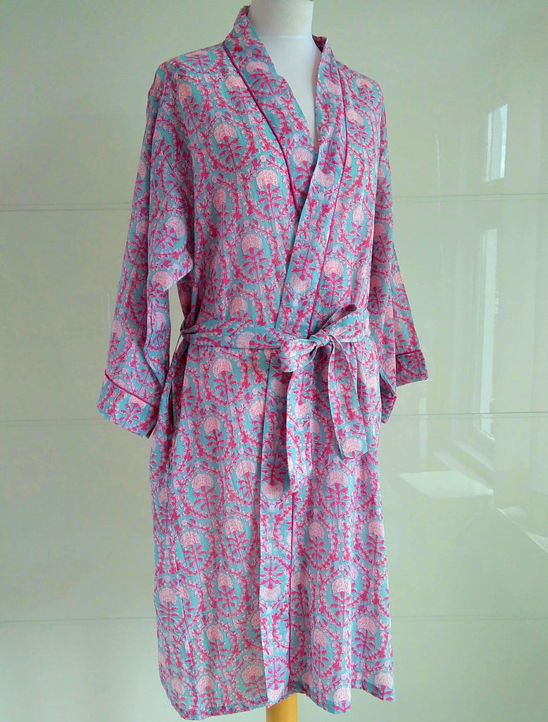 Kimono Robe - Dahlia Print - An Indian Summer